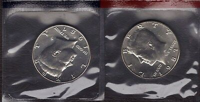 1987-P & D Uncirculated Kennedy  Half Dollars In Mint Set Cello 2 Coins