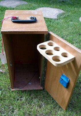 Vintage plywood microscope box drinks box? With lock and key