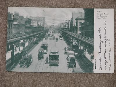 Elevated Road & Bowery, New York, 1908,  used vintage card