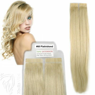 Tape In / On 100% Echthaar Remy Hair Extensions Haarverlängerung 2,5g Tresse #60