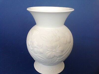 Vintage Kaiser White Pottery Vase signed by M Frey no 0335