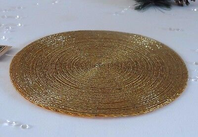 Sets 2,4,6 or 8 Gold Beaded Round Place Mats Table Setting Christmas Wedding