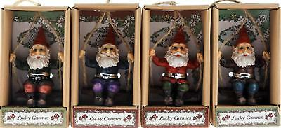 Set Of 4 Hanging 9cm Gnome On A Swing Ornament