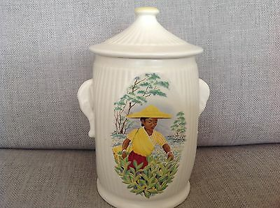 Vintage SylvaC Ceramic Tea Caddy with Lady Tea Harvester on the front