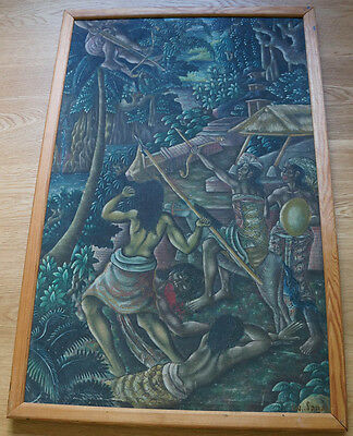 Altes Gemälde * Bali * Leinwand * Signiert * Old Balinese Painting * Signed