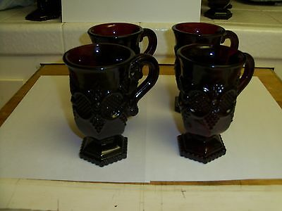 Vintage -Avon - Cape Cod Collection - Ruby Red - Set Of Four Pedestal Mugs