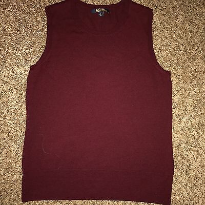 Youth Large BROOKS BROTHERS Boys Pullover Cotton Argyle Golf Vest Maroon Red EUC