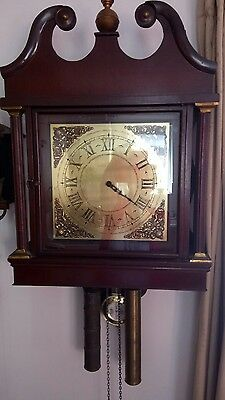 large grandfather style wall clock weight driven hermle movement