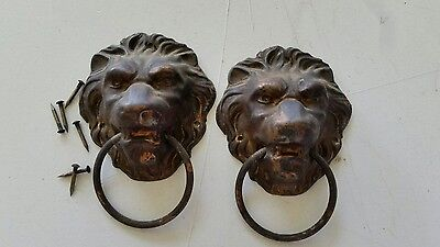 Pair Nice  Antique Brass Lion Heads Pulls Handles W /nails From A Clock  (476)