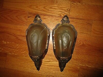 Antique Art Deco Bronzed Metal Glass Slip Shade Pair of Wall Sconces Fixtures