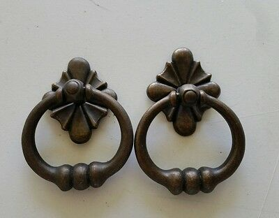 Pair Old Style Decorative Ring Drawer Pulls  Handles Heavy Metal  (477)