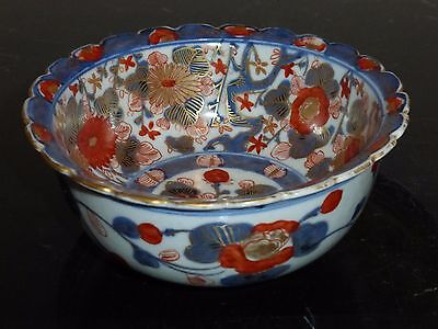 Antique Japanese Imari Porcelain Scalloped Bowl