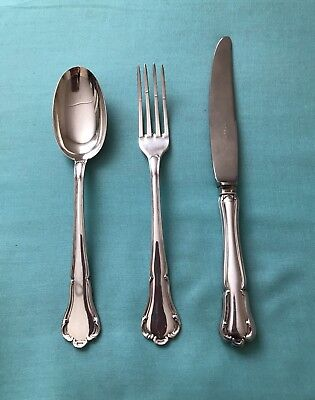 ITALIAN 800 Silver Flatware 3-pcs Place Setting for Child Spoon Fork Knife ITALY