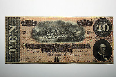 One 1864 Confederate States of America Ten Dollar Note About Uncirculated (13717