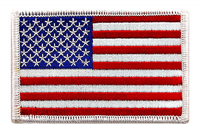 American Best USA Flag 3.4x2.1 US Embroidered Patch Iron On Sew On White Border