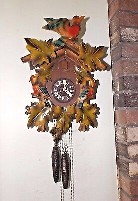 Vintage German Regula Carved Wood 30 Hr Cuckoo Clock Excellent Runs Great!
