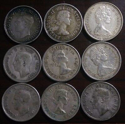 (9) 1940-1967 Canadian 25 Cents