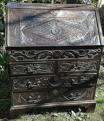 Georgian Oak Carved Bureau Country House .drawers Rococo. Gothic Style