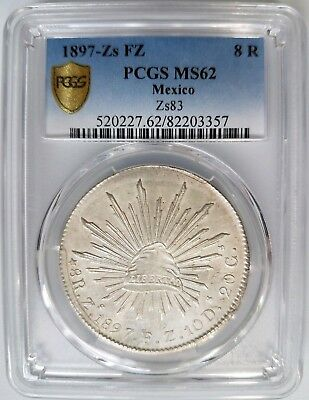 1897 Zs Fz Mexico 8 Reales Pcgs Ms 62 Silver Pieces Of Eight Treasure Coin