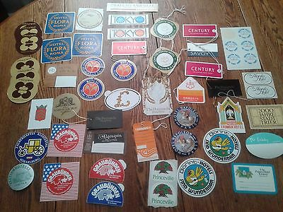 Vintage Lot Of 50 Different Hotel Luggage Travel Tags And Stickers