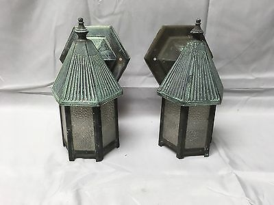 Small Vtg Pr Copper Arts Crafts Porch Sconce Light Pebbled Glass Panels 594-17E