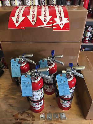 Set of 4 FIRE EXTINGUISHERS 5 lb ABC with MA CERT TAG - Excellent Condition