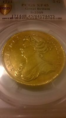 1711 Queen Anne Great Britain London Gold Two 2 Guineas PCGS XF45