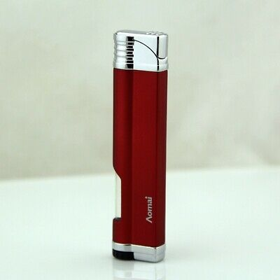 Metal Mini Windproof Refillable Butane Viewable Flame Torch cigar Lighter Red