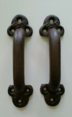 Pair Of Big Heavy Cast Iron Barn Door  Handles 9 1/2 By 3 Inch  2 Lbs Each (B)