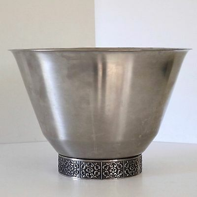 Wiltshire Burgundy Large Salad Bowl in Stainless Steel c.1970s