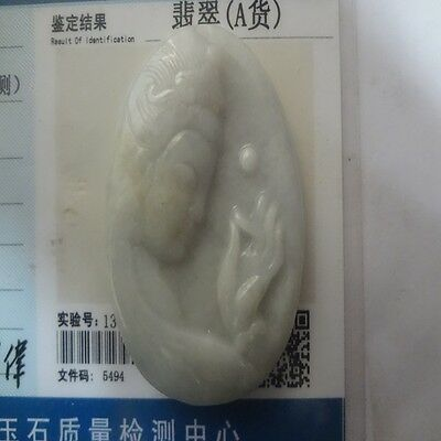 100%Natural Hand-carved old jadeite Jade A Pendant Necklace amulet guanyin