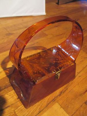 Vintage 1950`s Tortoise Brown Etched Lucite Box Purse