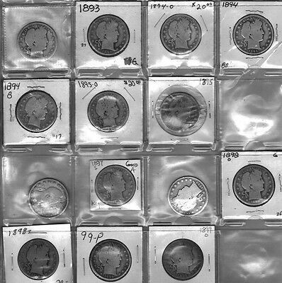 1890s 14 DIFF 1892s 50c Barber Half Dollar KEY  90%SILVER PARTIAL SET COLLECTION
