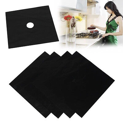 4x Gas Hob Covers Liners Easy Clean Reusable Non Stick Silicone Dishwasher Safe
