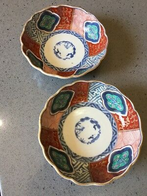 Antique Edo Era Small Japanese Bowls Hand Painted Imari Gold Fluted