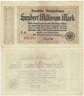 1924 Germany GERMAN RAILROAD NOTE Choice Crisp 100 MILLION MARK Post WORLD WAR I