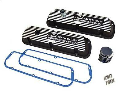 Black Bronco Valve Covers w/ Cork Gaskets small block Ford 289/302/351W engines