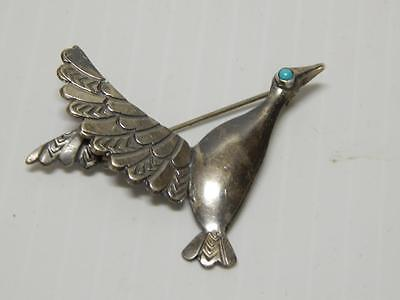 Old Pawn Vintage Navajo Indian Sterling Silver Turquoise Duck In Flight Pin