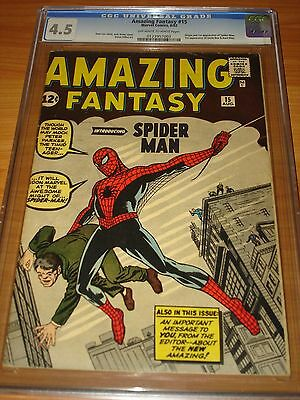 AMAZING FANTASY #15 - CGC 4.5 VG+ (1st Spider-Man ; OW/W ; No Marvel Chipping)