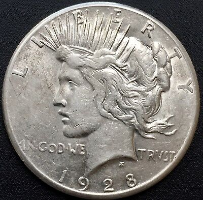 1928 - P Peace Silver Dollar Rare Xf+ Details Key Date Coin Mintage 360,649