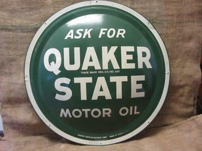 "Vintage Quaker State Motor Oil Domed Sign 24"" > Antique Gas Station 9764"