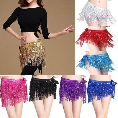 Sequins Belly Dance Dancer Costume Tassel Fringe Hip Scarf Belt Waist Wrap Skirt