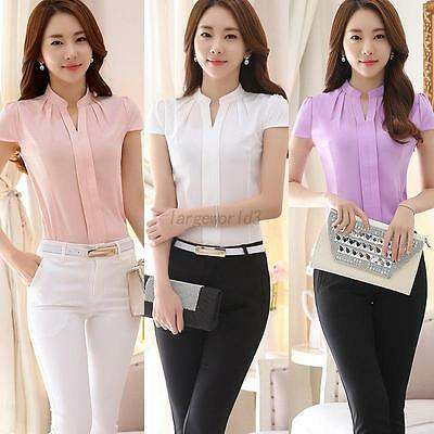 Women Office Uniform OL Work Wear Ladies Formal Cotton Shirt V Neck Blouse S-XXL