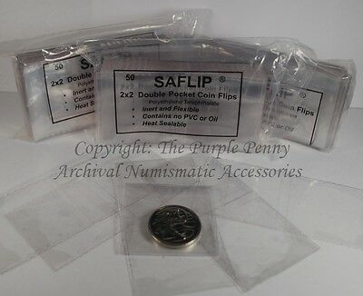 """SAFLIPS 2x2"""" Coin Holder 50pk PVC FREE Saflip With 50 Card Inserts"""