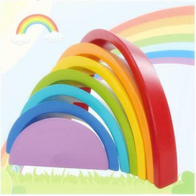 Kids Children 7 Color Wooden Rainbow Stacking Building Blocks Educational Toy J