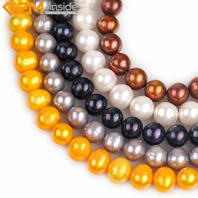 """10-11mm Assorted  Color Round Freshwater Pearl Loose Beads Jewelry Making 15"""""""