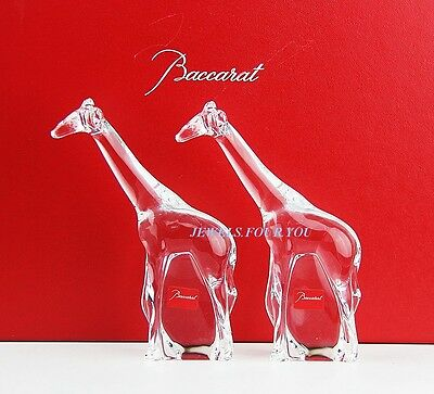 Baccarat Crystal Noah's Arc Set Of Two Giraffe Figurines New Hand Made In France