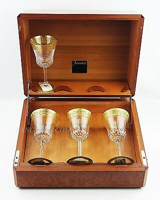 Baccarat Unique Burl Wood Oenology Case Box Empty Holds 6 Glasses France $2750