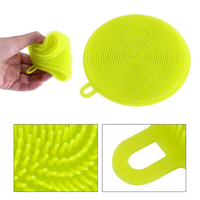 Silicone Anti Bacterial Washing Cleaning Dish Soft Sponge Brush Pad Kitchen Tool