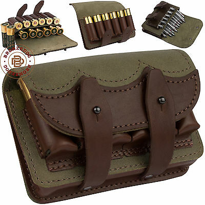 Leather Cartridge Holder Rifle Ammo Pouch Carrier Case 7.62 cal 12 Gauge